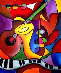 Cuadros décoration vintage musique abstraite peinture à l'huile sur toile décoration wall art pour le salon(China (Mainland))