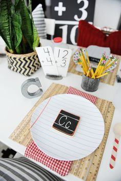 Back to School breakfast brunch party. Kick off the school year with a cute neighborhood back to school breakfast party with easy DIY giant flash cards for decorations and a delicious buffet of kid's breakfast favorites.