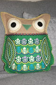 Image of Large Owl Embroidered Cushion