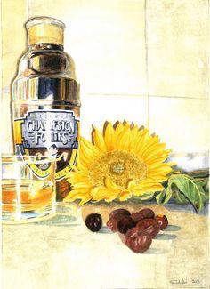 Sunflower  2011 (20,7 x 20 watercolor on paper) https://www.facebook.com/Riflessi-e-trasparenze-di-Germana-Galdi-152645784768295/