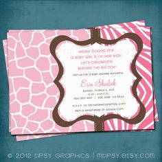 Safari Modern Animal Print Baby Shower or Party Invite by MTipsy, $16.00