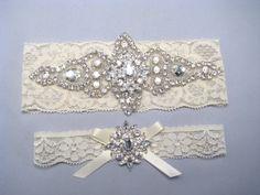 Bridal Garter Set Crystal Rhinestone Keepsake And Toss Garters White Stretch Lace Wedding Bride Accessories Heirloom Via Etsy