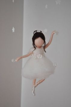 Waldorf inspired needle felted doll mobile: Ballerina in white