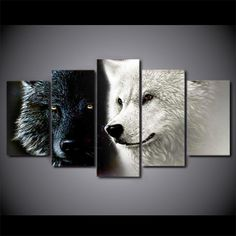 b3a14cf90d3 HD Printed 5 Piece Canvas Art Abstract Black White Wolf Couple Painting  Wall Pictures for Living Room Free Shipping CU-1677A