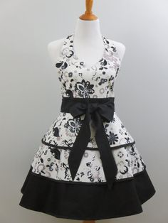 Womens Apron Hostess Full Retro Skirt Black by StitchedbyBeverly, $79.00