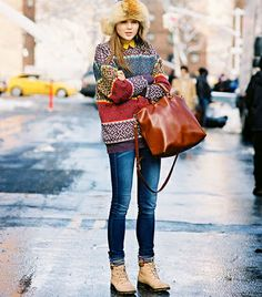 @Who What Wear - Street Style Backdrop:                 Snow banks and yellow cabs.    Vanessa Jackman
