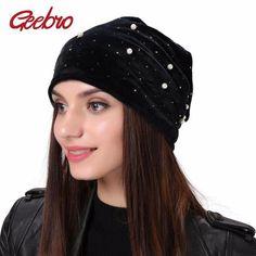 Geebro Brand Women s Beanie Pearl Rhinestones Hat Women Polyester Slouchy Beanie  Winter Velvet Balaclava Black Skullies Beanies 2237572effe8