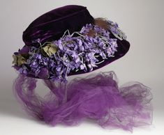 Hat, ca. 1912.  //  Pinning for violets & colors.