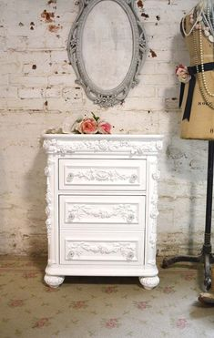 Painted Cottage Shabby Romantic Night Table NT790