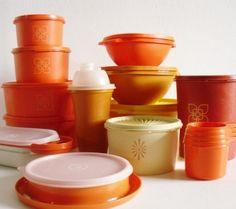 Vintage harvest orange tupperware collection. (They can't be that vintage - I'm still using mine!)