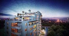 Espresso Apartments Visualization Posted by Rafal Barnas 3d Architectural Visualization, Architecture Visualization, Exterior Rendering, 3d Architecture, Magic Hour, Dusk, 3 D, Around The Worlds, Mansions