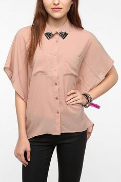 UrbanOutfitters.com > Sparkle & Fade Studded Collar Oversized Blouse