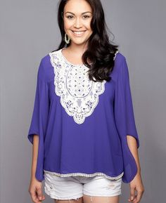 Deep periwinkle, crochet, and bell sleeves! Fall has arrived!