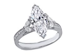 Engagement Ring -Marquise Diamond Cathedral Engagement Ring in 14K White Gold-ES1248MQ