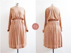 Chain Mail Dress | m/l | 1980s japan vintage | mocha chain print dress by LaisVintage on Etsy