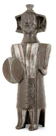 JEAN DERVAL (1925-2010) - Guerrier Sculpture-boîte en terre