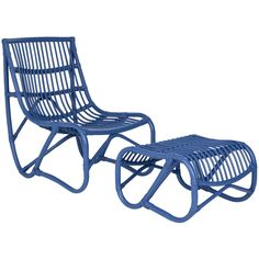 Safavieh Shenandoah Blue Wicker Chair and Ottoman Set (FOX6526C) (Rattan)