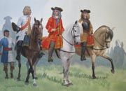 Marlborough before Blenheim Ref: GT-Marl-1  The Duke of Marlborough and Prince Eugene of Savoy, accompanied by Major General Natzmer, commander of the Prussian cavalry, meet early in the morning of the 13th August 1704 before the battle of Blenheim.  Gouache painting by Graham Turner