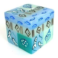 Hand-Painted Cube Candle - Samaki Design Handmade and Fair Trade
