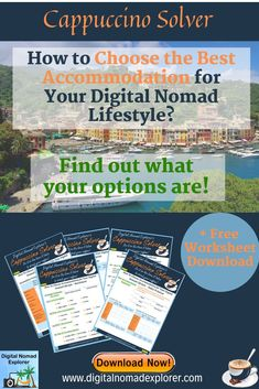 The biggest part of your budget, whether it's traveling for a few days or permanently living in a new country as a digital nomad, is your accommodation. I've created a Cappuccino Solver worksheet, which is free to download from our resource library, to help you organize your options for accommocation. Check it out!  #nomadlife   #accommodations  #travel   #hotel   #hostel Travel Jobs, Work Travel, Job Work, Digital Nomad, Virtual Assistant, Traveling By Yourself, Organize, How To Become, Budget