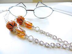 Silver Eyeglass Chain  Amber Breeze  Reading by EyeglassLanyards, $18.00
