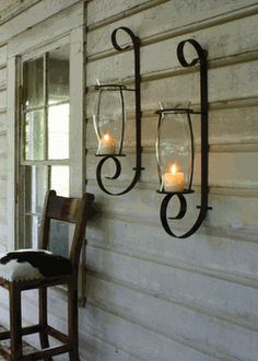 candle sconce: perfect for outdoor decor or on either side of the bed. Perfect lit ambiance!