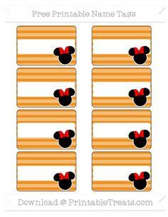 Free Carrot Orange Horizontal Striped  Minnie Mouse Name Tags