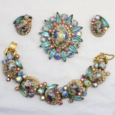 Juliana Book Aqua Rhinestone Stippled Easter Egg Parure Bracelet Brooch Earrings #Juliana