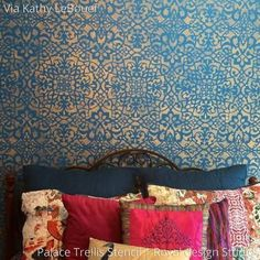 Boho Glam Girls Room Decor and Accent Wall Painted with Palace Trellis Moroccan Wall Stencils - Royal Design Studio