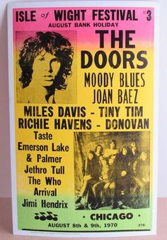 Isle of Wight Festival 1970 Hippie Style, Isle Of Wright, August Bank Holiday, Emerson Lake & Palmer, The Doors Jim Morrison, Isle Of Wight Festival, Vintage Concert Posters, Jethro Tull, Joan Baez