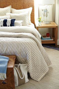 Nothing says fall like a pile of fabulous quilts stacked on a ... : ticking stripe quilt - Adamdwight.com