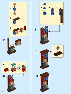 LEGO 10270 Bookshop instructions displayed page by page to help you build this amazing LEGO Creator Expert set Lego Ninjago, Lego Custom Minifigures, Lego Duplo, Legos, Lego Batman, Lego Marvel, Instructions Lego, Casa Lego, Lego Hogwarts