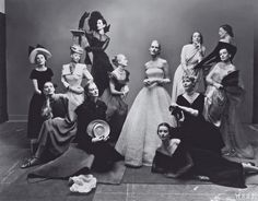 """Vogue, May 1, 1947 One of Irving Penn's most famous tableaux, often referred to as """"The Twelve Beauties."""" At this sitting Penn first fell in love with wife-to-be Lisa Fonssagrives, sixth from left."""