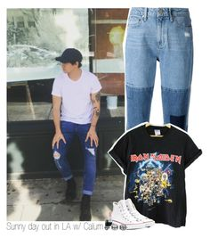 """""""Sunny day out in LA w/ Calum"""" by amberamelia-123 ❤ liked on Polyvore featuring Paige Denim, Converse, MAC Cosmetics and LULUS"""