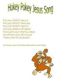 Hokey pokey jesus with printable template Childrens Bible Songs, Bible Songs For Kids, Bible Study For Kids, Bible Lessons For Kids, Sunday School Songs, Toddler Sunday School, Sunday School Activities, Preschool Bible, Bible Activities