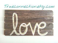 Rustic Wall Art Love Headboard Script Reclaimed by TRUECONNECTION, $75.00