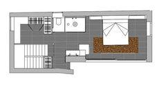 Dormitorio con cuarto de baño integrado: plano de planta