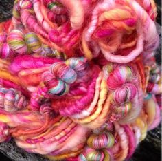 Handspun art yarn. Coils and beehives                                                                                                                                                                                 More