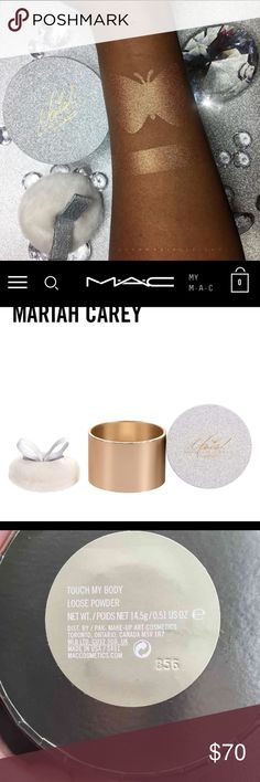 Mariah Carey MAC Touch My Body Loose Powder SOLD OUT LIMITED EDITION Asilky, ultra-fine powder in radiant gold shimmer. Provides sheer, velvety coverage to add sparkle to skin. Luxurious packaging in silver glitter with champagne gold accents and Mariah's signature. Packaged with a lush oversized puff. MAC Cosmetics Makeup Face Powder