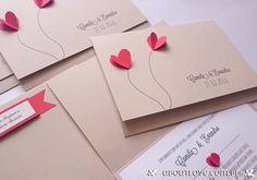 Capa do envelope e a parte interna com dobradura de corações
