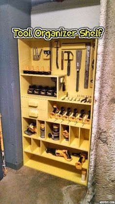"Woodworking Shop Picture of Tool Organizer Shelf - One of our three theatres is on the opposite side of the building making running back to the shop for that ""one tool"" inconvenient. As a solution we turned one o. Workshop Storage, Workshop Organization, Garage Workshop, Garage Organization, Organization Ideas, Workshop Ideas, Organizing, Diy Garage Storage, Shed Storage"