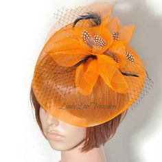 Orange Crinoline Fascinator Hat Statement Hair Accessory