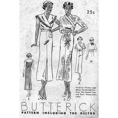 1930s Women's & Misses' Frock   Cape Collar  by PatternAndStitch, $88.00
