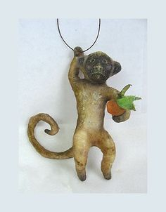 Antique Style Folk Art Spun Cotton Monkey Ornament