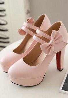 Pink Round Toe Bow Chunky Sweet High-Heeled Shoes high heels formal high heels for prom high heels with strap high heels platform High Heels Boots, Platform High Heels, Black High Heels, Lace Up Heels, Heeled Boots, Heeled Sandals, Chunky High Heels, Sandals Outfit, Black Platform