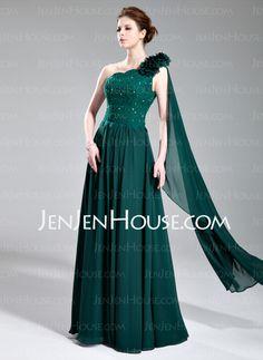 Evening Dresses - $152.99 - A-Line/Princess One-Shoulder Floor-Length Chiffon Charmeuse Evening Dresses With Lace Beading (017019727) http://jenjenhouse.com/A-Line-Princess-One-Shoulder-Floor-Length-Chiffon-Charmeuse-Evening-Dresses-With-Lace-Beading-017019727-g19727