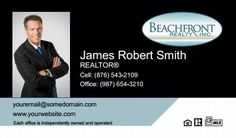 Beachfront Realty Business Cards - BRI-BC-014 - With Photo, Compact,  Medium Size Photo, Blue Black White