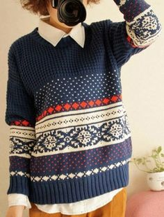 Retro Knitwear Printed Dark Navy Pullover Sweater for Women