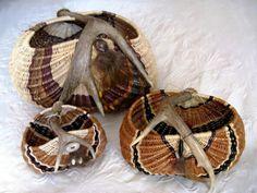 Some of Carol's antler basket designs