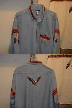 Native American 163146: Eagle And Eagle Feather Denim Shirt -> BUY IT NOW ONLY: $75 on eBay!